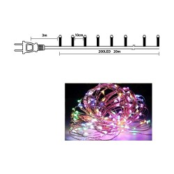 200 BIG LED COPPER ΛΑΜΠΑΚΙΑ ΜΕ ΠΡΟΓΡΑΜΜΑ ΠΟΛΥΧΡΩΜΟ ΦΩΣ (XLCOPPER-B200M)
