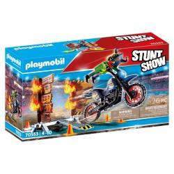 PLAYMOBIL STUNT SHOW ΜΗΧΑΝΗ MOTOCROSS ΜΕ ΦΛΕΓΟΜΕΝΟ ΤΟΙΧΟ (70553)